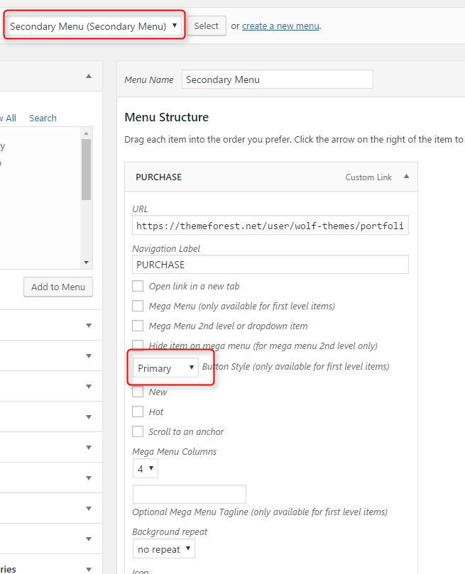 Create a secondary button menu item