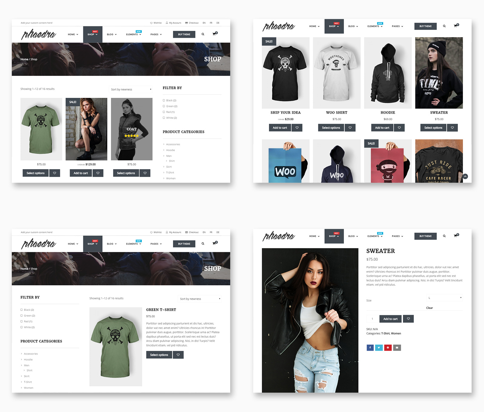 Shop Pages Layouts