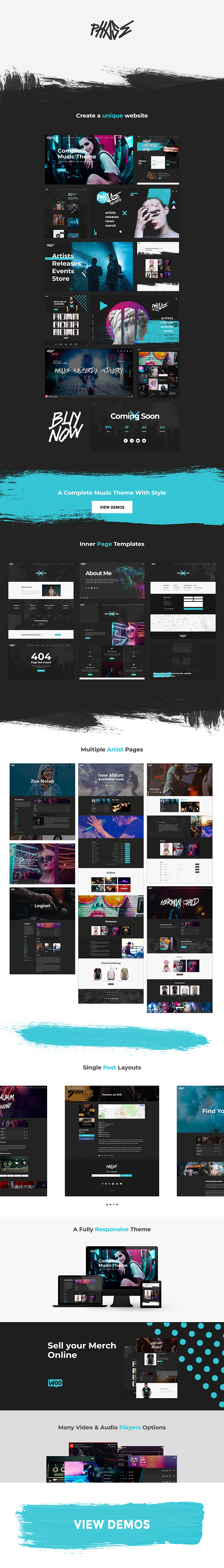 WordPress theme Phase - A Complete Music WordPress Theme for Record Labels and Artists (Music and Bands)